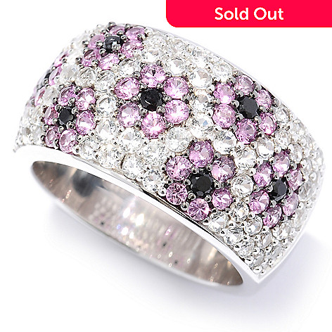 131-176 - Gem Treasures® Sterling Silver 2.56ctw White Topaz, Spinel & Pink Sapphire Ring