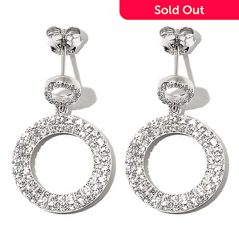 131-177 - Gem Treasures Sterling Silver 1'' White Zircon Double Circle Drop Earrings