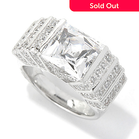 131-179 - TYCOON Platinum Embraced™ 5.15 DEW Art Deco Simulated Diamond Style Square Ring