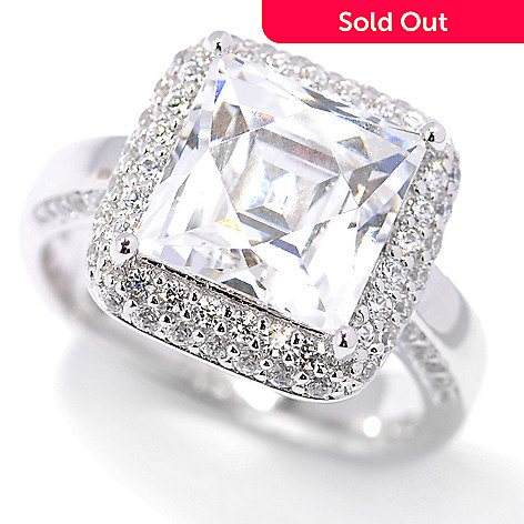 131-181 - TYCOON for Platinum Embraced™ 4.84 DEW Square Simulated Diamond Pave Halo Ring