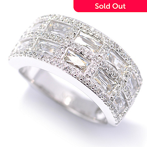131-182 - TYCOON Platinum Embraced™ 2.64 DEW Rectangle Simulated Diamond Two-Row Ring