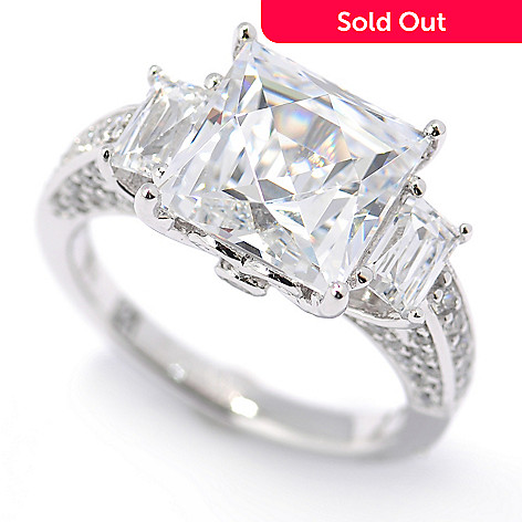 131-184 - TYCOON Platinum Embraced™ 5.18 DEW Simulated Diamond Pave Three-Stone Ring