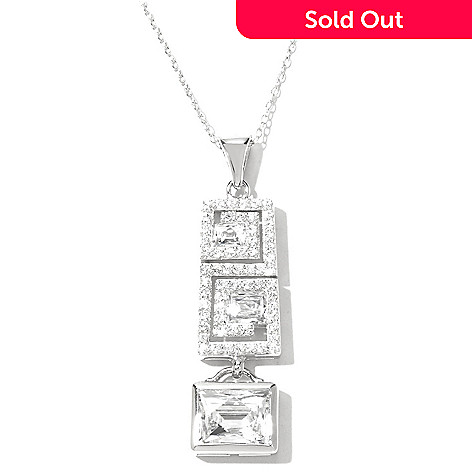 131-186 - TYCOON 3.93 DEW Platinum Embraced™ Simulated Diamond Scroll Drop Pendant w/ Chain