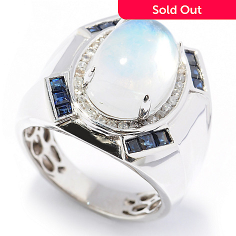 131-189 - Gem Insider™ Men's Sterling Silver 14 x 10mm Blue Moonstone, Zircon & Sapphire Ring