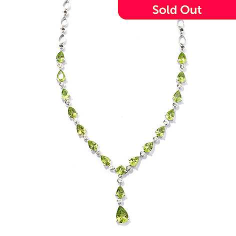 131-191 - Gem Insider™ Sterling Silver 16'' 9.15ctw Peridot & Zircon Drop Necklace