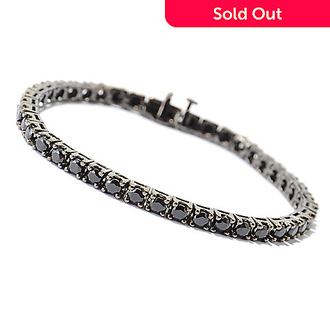 131-195 - Gem Treasures Sterling Silver Round Cut Spinel Black Rhodium Tennis Bracelet
