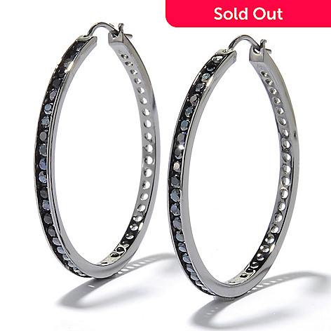 131-196 - Gem Treasures Sterling Silver 1.5'' 2.00ctw Channel Set Spinel Hoop Earrings