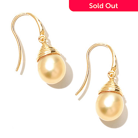 131-197 - 10-11mm 1.25'' Semi-Baroque Golden South Sea Cultured Pearl Drop Earrings