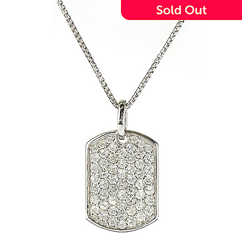 131-201 - Gem Treasures Sterling Silver 2.58ctw White Zircon Dog Tag Pendant w/ Chain