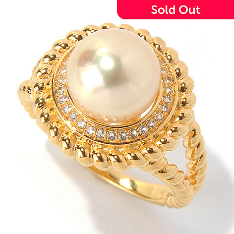 131-202 - 9-10mm Golden South Sea Cultured Pearl & Topaz Braided Ballerina Ring