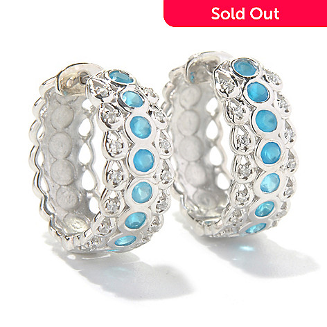 131-203 - Gem Treasures® Sterling Silver 0.75'' White Zircon & Gemstone Huggie Hoop Earrings