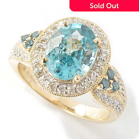 131-204 - Gem Treasures® 14K Gold 5.21ctw Blue Zircon & Diamond Halo Ring