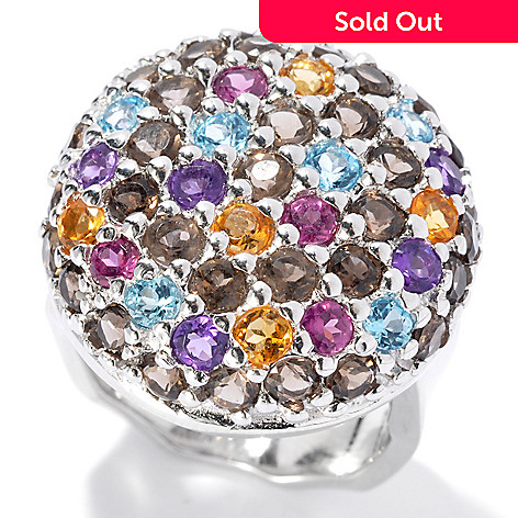 131-206 - Gem Insider™ Sterling Silver 3.42ctw Pave Multi Gemstone Button Ring