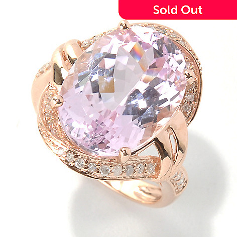 131-208 - Gem Treasures 14K Gold 10.37ctw Oval Kunzite & Diamond Ring