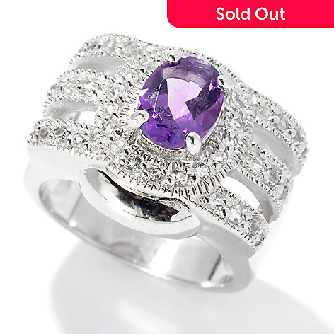 131-209 - Gem Insider™ Sterling Silver 1.65ctw Oval African Amethyst & White Topaz Ring