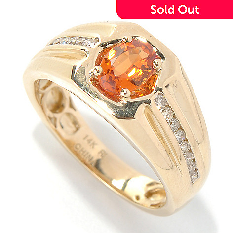 131-210 - Gem Treasures Men's 14K Gold 1.21ctw Oval Spessartite & Diamond Ring