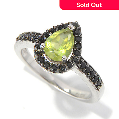 131-211 - Gem Insider™ Sterling Silver 1.24ctw Pear Cut Peridot & Spinel Halo Ring