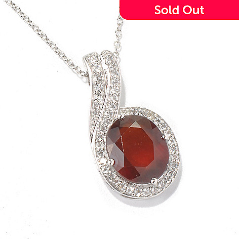 131-213 - Gem Insider™ Sterling Silver 5.08ctw Hessonite & White Topaz Pendant w/ Chain