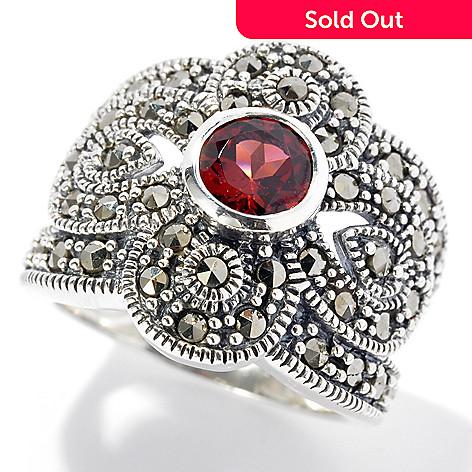 131-214 - Gem Insider™ Sterling Silver Round Cut Garnet & Marcasite Split Shank Ring