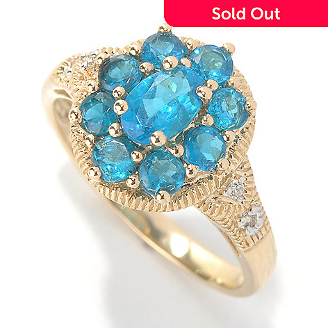 131-215 - Gem Treasures® 14K Gold 1.42ctw Neon Blue Apatite & Diamond Flower Ring