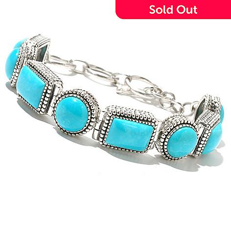 131-217 - Gem Insider™ Sterling Silver 8'' Rectangular & Round Turquoise Toggle Bracelet