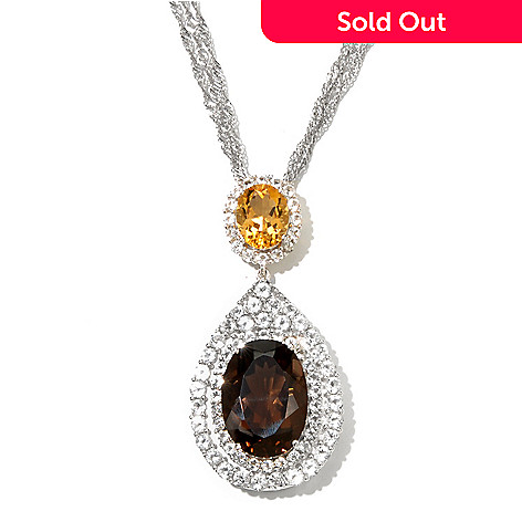 131-218 - Gem Treasures® Sterling Silver 17.80ctw Multi Gem Pear Shape Pendant w/ Triple Chain