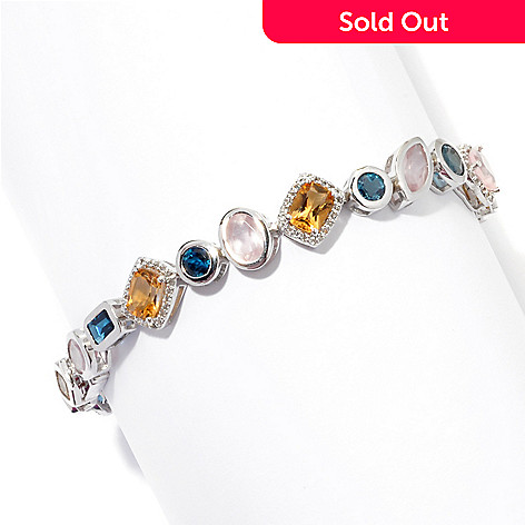 131-219 - Gem Insider™ Sterling Silver Topaz, Citrine & Rose Quartz Multi Shape Bracelet