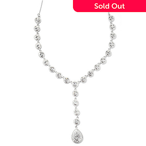 131-223 - Brilliante® Platinum Embraced™ 17'' 7.42 DEW Teardrop Simulated Diamond Drop Necklace