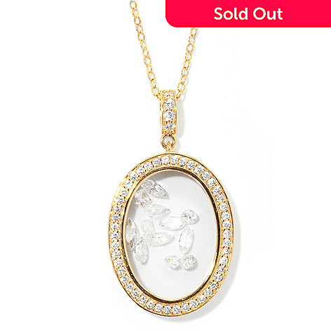 131-224 - Brilliante® 3.11 DEW Multi Cut Oval Case Halo Simulated Diamond Pendant w/ Chain