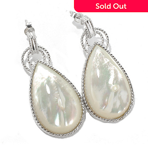 131-227 - Gem Insider Sterling Silver 1.75'' Mother-of- Pearl Teardrop Earrings