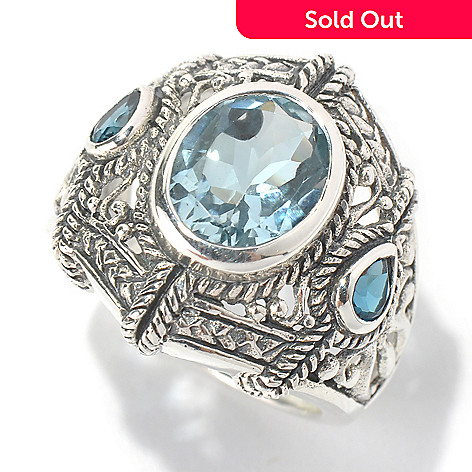 131-228 - Gem Insider Sterling Silver 4.07ctw Sky Blue & London Blue Topaz Scrollwork Ring