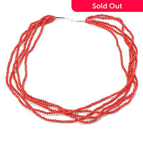 131-231 - Gem Insider™ Sterling Silver 28'' Red Coral Five-Strand Bead Necklace