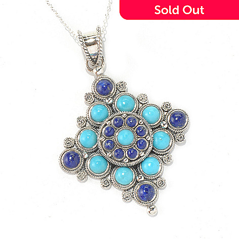 131-237 - Gem Insider™ Sterling Silver Lapis & Turquoise Diamond Shape Pendant w/ Chain