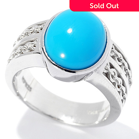 131-239 - Gem Insider™ Sterling Silver 12 x 10mm Oval Sleeping Beauty Turquoise Ring