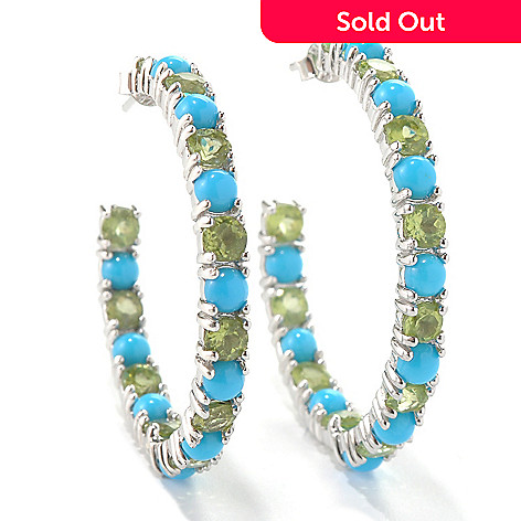 131-242 - Gem Insider™ Sterling Silver Sleeping Beauty Turquoise & Gemstone Earrings