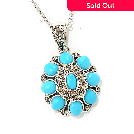 131-246 - Gem Insider™ Sterling Silver Oval Sleeping Beauty Turquoise & Marcasite Pendant