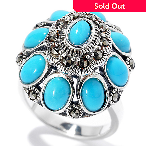 131-247 - Gem Insider™ Sterling Silver Oval Sleeping Beauty Turquoise & Marcasite Ring