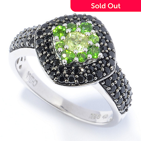 131-249 - Gem Treasures® Sterling Silver 1.09ctw Peridot, Chrome Diopside & Spinel Ring
