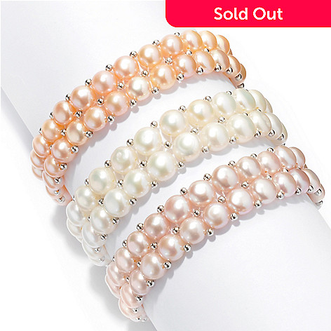 131-250 - Set of Three 6.5'' 7-7.5mm Freshwater Cultured Pearl Stretch Bracelets
