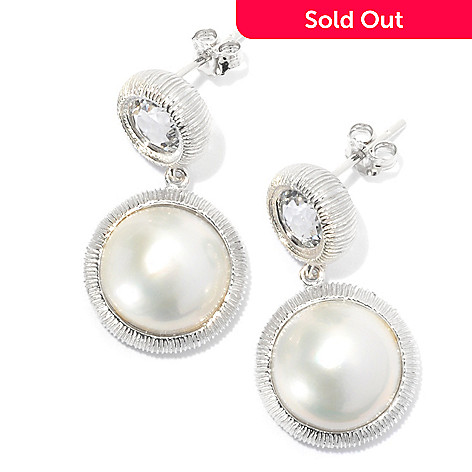131-252 - Sterling Silver 12-12.5mm White Mabe Cultured Pearl & White Topaz Earrings