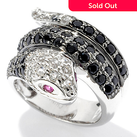 131-253 - Sterling Silver 2.49ctw Black Spinel, White Topaz & Ruby Wide Snake Ring