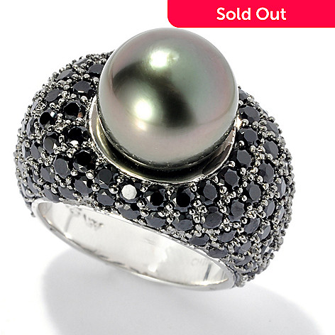 131-255 - Sterling Silver 11-12mm Black Tahitian Cultured Pearl & Spinel East-West Ring