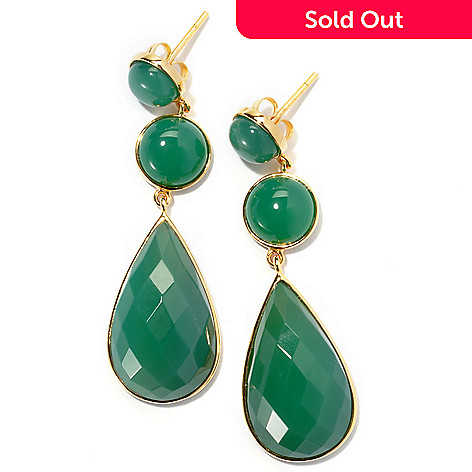 131-258 - 2'' Pear & Round Shaped Green Agate Drop Earrings