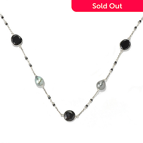 131-262 - Sterling Silver 24'' 10-11mm Tahitian Cultured Pearl & Multi Gem Station Necklace