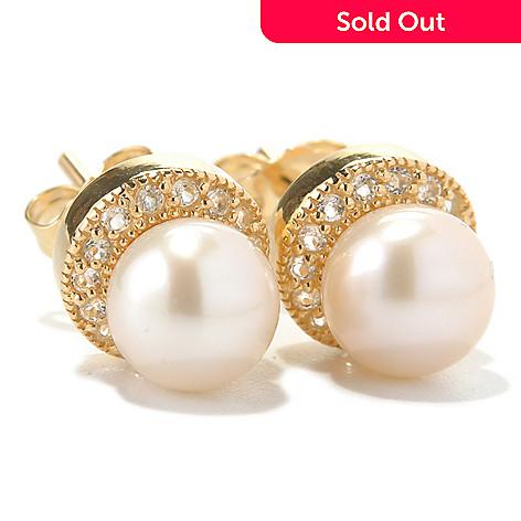 131-266 - 6-7mm White Freshwater Cultured Pearl & White Topaz Stud Halo Earrings