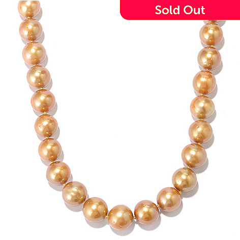 131-267 - 11-12mm Champagne Colored Freshwater Cultured Pearl 24'' Necklace w/  Magnetic Clasp
