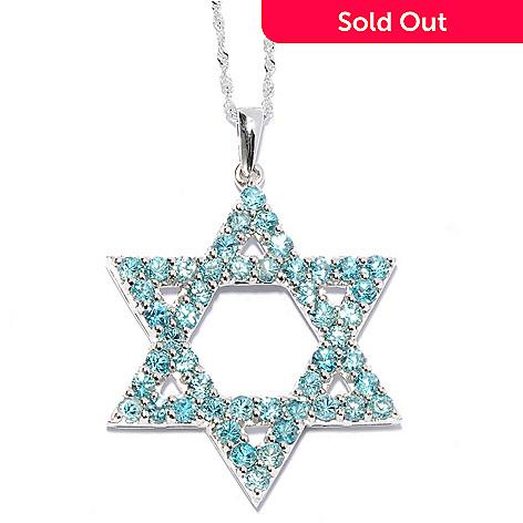 131-269 - Gem Treasures® Sterling Silver Round Cut Gemstone Star of David Pendant w/ Chain