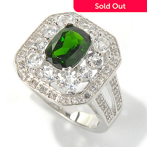 131-270 - Gem Treasures® Sterling Silver 2.10ctw Topaz & Chrome Diopside Split Shank Ring