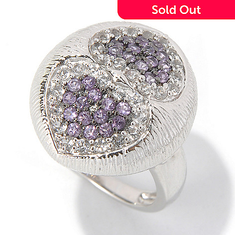 131-271 - Gem Treasures Sterling Silver Amethyst & White Topaz Double Heart Ring