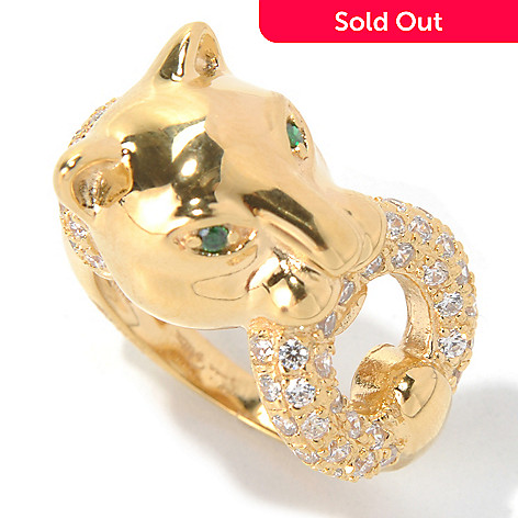 131-276 - Sonia Bitton Simulated Diamond Green & White Panther Ring